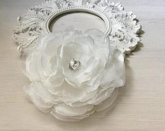 Satin Organza Flower Brooch/Hair Pin