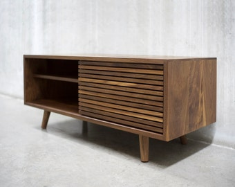 "48"" Solid Black Walnut Credenza/ Sideboard/ Cabinet/ Media Console with Slatted Doors *"