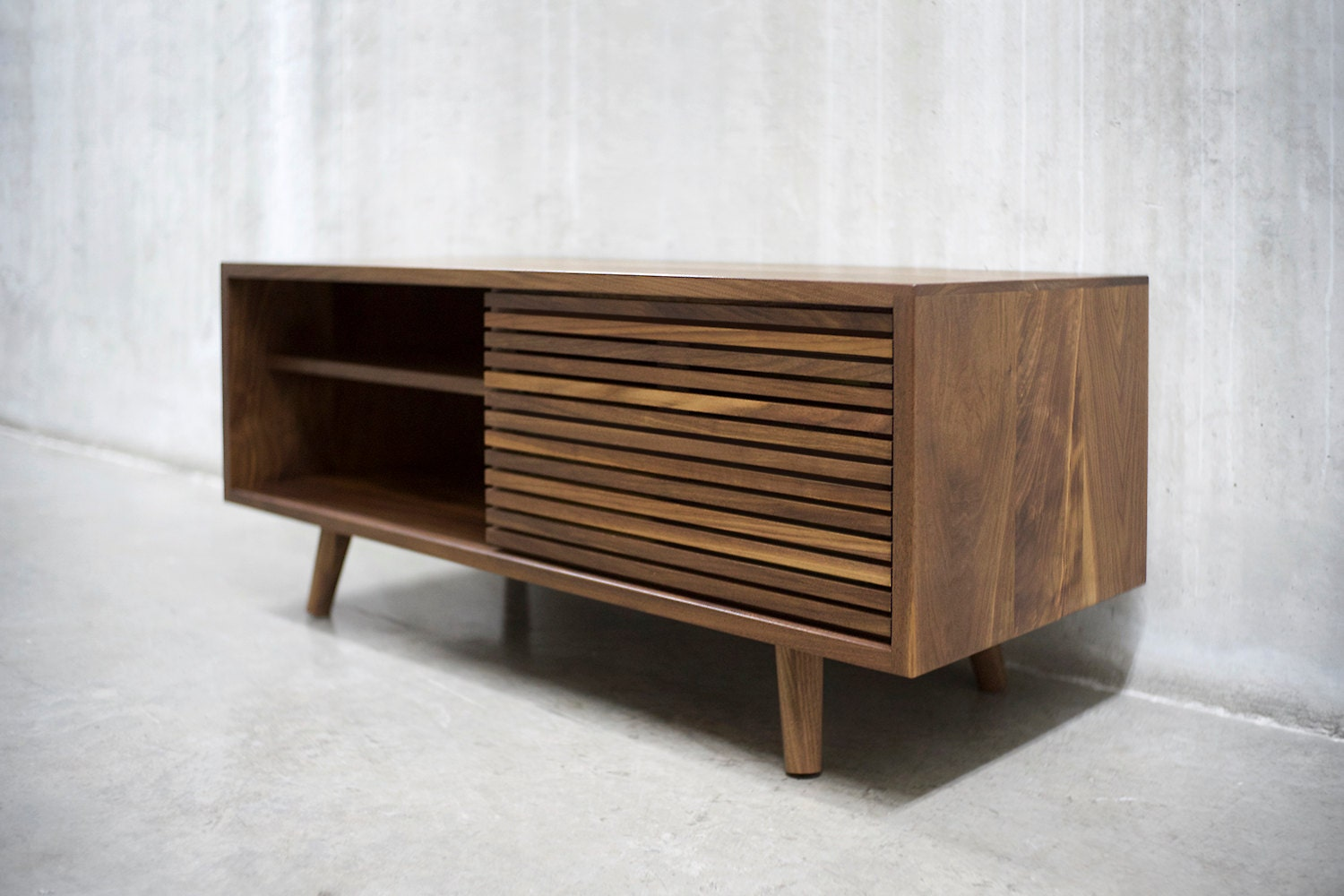 Solid Walnut Buffet ~ Solid black walnut credenza sideboard cabinet