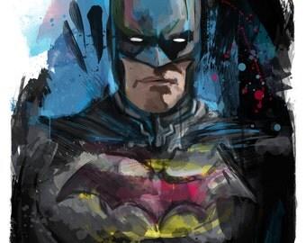 "New! Batman Portrait Abstract Art Print, 13x19"""