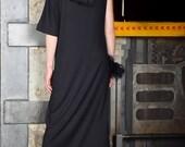 Black maxi dress, loose dress, maxi dress, long dress, bare shoulder dress, asymmetric dress, plus size dress - UM-079-VL