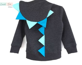 3T Gray Dinosaur Hoodie with Aqua and Blue Spikes