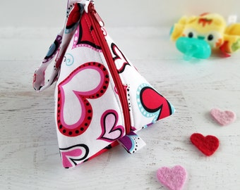 Plush Pacifier Holder Bag | Baby Pacifier Pod | Pacifier Pouch | Large Pacifier Bag | Triangle Bag | Zipper Pouch | Heart Baby Girl Gifts