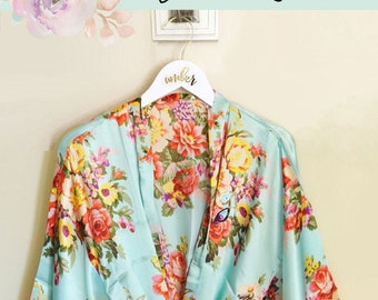Bridesmaid Robe Bridal Robe Bride Robe Floral Robe Kimono Robe Style Robe for Bride Gift    (EB3152) Bride Robe Satin