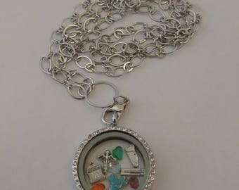 Doctor floating locket charm, MD necklace, medical, health care worker, hospital