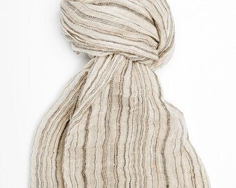 Gray with stripes 100% linen scarf, linen scarf, flax scarf, spring scarf, linen shawl, grey shawl, linen wrap, grey scarf, unisex scarf