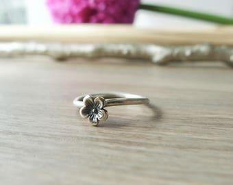 Flower Ring, Sterling Silver, Stacking Ring, Cherry Blossom, Minimalist Flower, Tiny Flower, Simple, Flower, Flower Jewelry, Modern Flower