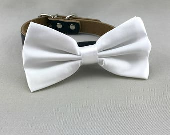 White Bowtie for Wedding Dog Outfit Pet Wedding Black Dog Collar