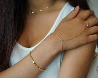 Gold CZ, Slave Bracelet, Hand Harness, Handlet, Summer Jewelery, Thin Gold Bracelet, Ring Chain Bracelet, Finger Bracelet, Boho, Gypsy, Gift