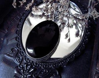 Black Onyx Pendant, Antique Design, Oval Pendant, Witchy, Black Crystal, Gothic, Chunky Pendant