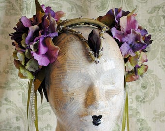 Queen of Elfs Headpiece,Spring Fairy Headdress,OOAK Purple Elf Costume Fascinator,Halloween,Mardis Gras Costume-Ready to Ship