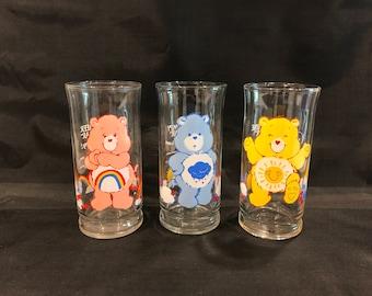 CARE BEAR GLASS, Vintage Care Bears Glass, Funshine Bear glass, Cheer Bear glass, Grumpy Bear glass, vintage glass, Care Bear gift, cute cup