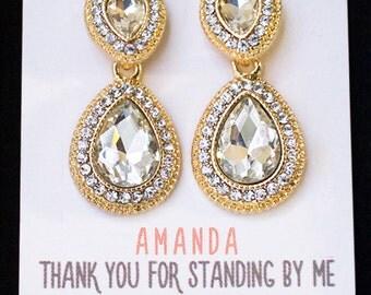 Vintage Bridesmaid Earrings, Tear Drop Earrings for Bridesmaid, Bridal Party Gits, Bridal Earrings, Wedding Jewelry, Gift From Bride E260WG