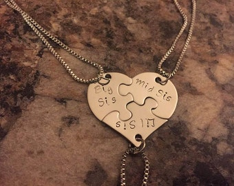 Sisters Puzzle Piece Necklace Set