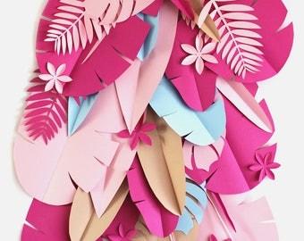Tropical Party Backdrop - Safari paper flowers backdrop - Greenery backdrop -Paper leaves backdrop - Tropical leaves backdrop - Jungle party