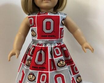 """18 inch Doll Clothes, """"OHIO State University Cheer"""" Dress, 18 inch AG Dolls, OSU Buckeyes - Big 10 Football Team, Brutus Buckeye, Go Bucks!"""