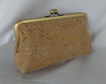 gold floral lace rustic wedding bridal bridesmaid prom evening clutch purse BBsCustomClutches