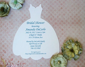 Wedding Dress Invitation Bridal Shower Invite Dress Form Invitations Die Cut Dress, Wedding Dress Form, Bridal Dress invitation Set of 10