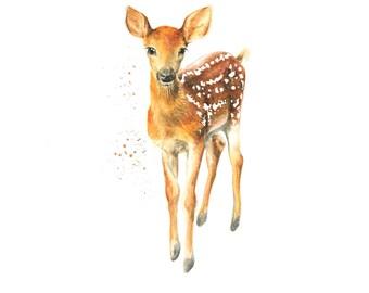 deer print, woodland nursery, woodland animal, nursery decor, animal prints, deer art, woodland print, nursery wall art, deer painting, fawn