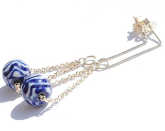 Blue and White Porcelain Silver Chain Earrings