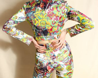 Christian Lacroix Collage Illustration Print Jacket and Trousers UK8/US4