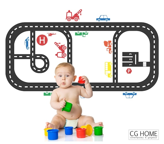 KIDS ROOM Furniture Sticker Table Street Cars Vehicles Decal Highway Road Wall Decal Small City Playroom Decor CGhome