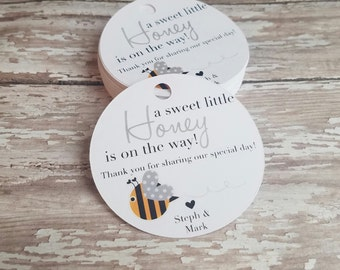 A little honey is on the way baby shower tag, Bee Baby Shower, Spring, Pregnancy Announcement Tag, Gender Reveal, Bumble Bee (110)
