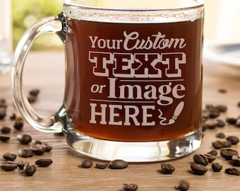 custom etched glass mug custom coffee mug personalized gifts for mum glass - Coffee Mug Design Ideas