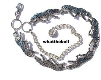 Vintage Belt 80s Silver Panther Leopard Tiger Chain Belt