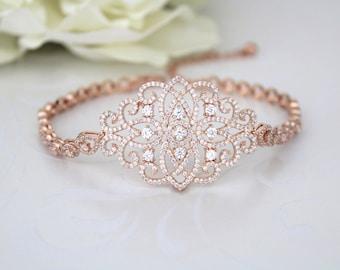 Rose Gold Bracelet, Wedding jewelry, Bridal bracelet, Bridesmaid jewelry, Crystal bracelet, Rhinestone bracelet, Cuff bracelet, Wedding gift