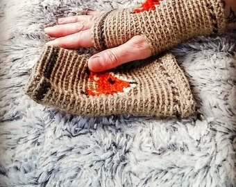 Fox gloves,crochet fox fingerless gloves,fox mittens,knit fox gloves,woodland creature mittens,handmade fingerless gloves.