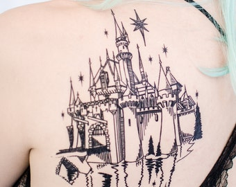 Enchanted Castle Linework Tattoo