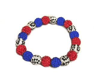 Red, white and Blue bracelet-Leopard