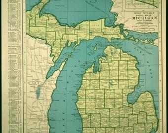 Michigan Map Michigan Vintage State 1940s 1945 Green Blue