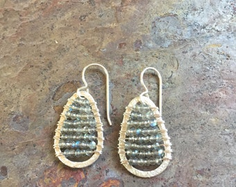 Labradorite gemstone silver hoop earrings