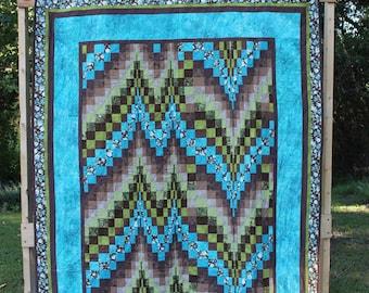 Bargello Quilt:  Blue, Green, Brown