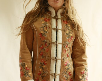 Vintage Embroidered Toggle Coat Size S