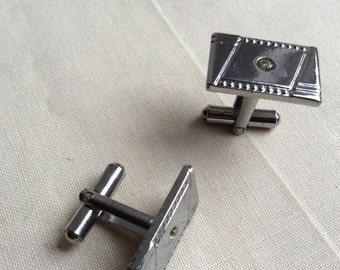 Vintage silver tone and mock diamanté cufflinks. 70s - 90s cufflinks.