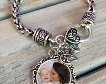 Mother's Day Gift - Mother's Day, Photo Bracelet, custom photo Bracelet, photo Jewelry- photo Charm Bracelet- gift for Mom, gift for grandma