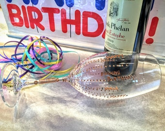 Birthday crystal wine goblet. hand painted. wired. gift wrapped.