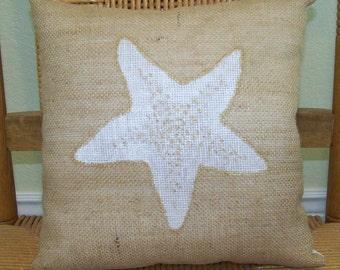 Starfish pillow, Shell pillow, Beach pillow, Burlap pillow, Beach decor, stenciled pillow, Nautical pillow, FREE SHIPPING!