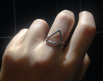 Sterling Silver Triangle Ring UK 7 US O