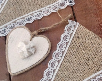 Lace and Burlap Banner - Rustic Banner - Burlap Bunting - Burlap Garland - Wedding Prop - Wedding Pennant Banner - Rustic Wedding Decor