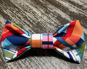 Bow Tie  Collar Attachment & Accessory for Dogs and Cats / Bold Colored Tartan