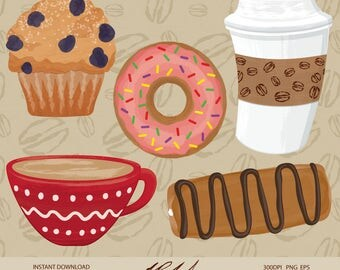 Cute Coffee Shop Digital Clip Art - Digital Files - Coffee Clipart - Coffee Shop Clipart - Cute Muffin Clipart - Cute Coffee Cup Clipart