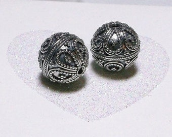 20% OFF SALE Bali Sterling Silver 13mm Ornate Focal Bead #1908 - (1)