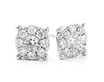 Solitaire Effect Cluster Earrings
