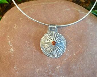 Pretty Fine Silver Sunburst with an Orange CZ Center | Precious Metal Clay