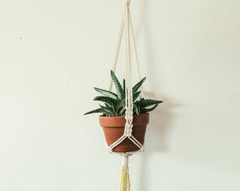 S A L E  dip dyed yellow macrame plant hanger naturally dyed with turmeric