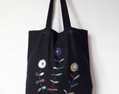 Dandelions bag, black cotton tote bag, hand painted bag, dandelion painted bag, book bag, grocery bag, shoulder bag, cotton bag, Unique Item